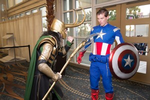 Cosplayers Loki Hates You and Humble Shield play out a meeting between Loki and Captain America.