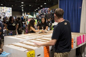 Attendees have plenty of time to browse the stacks of merchandise without being rushed.