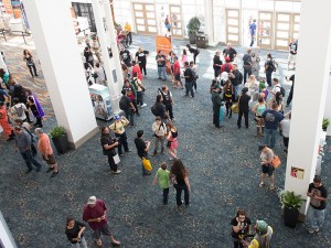 The sparsely packed lobby of LBCC remained like this most of the weekend, allowing for easy movement.